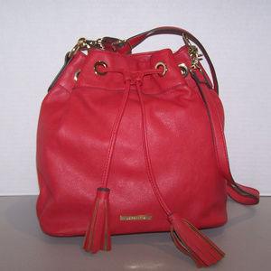 Liz Claiborne Red Drawstring Bucket Purse Bag 2825